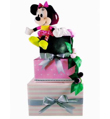 TARTA de pañales Minnie rosa